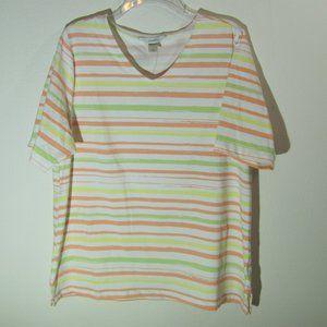 CJ Banks Stripe Plus Size Tee NWT